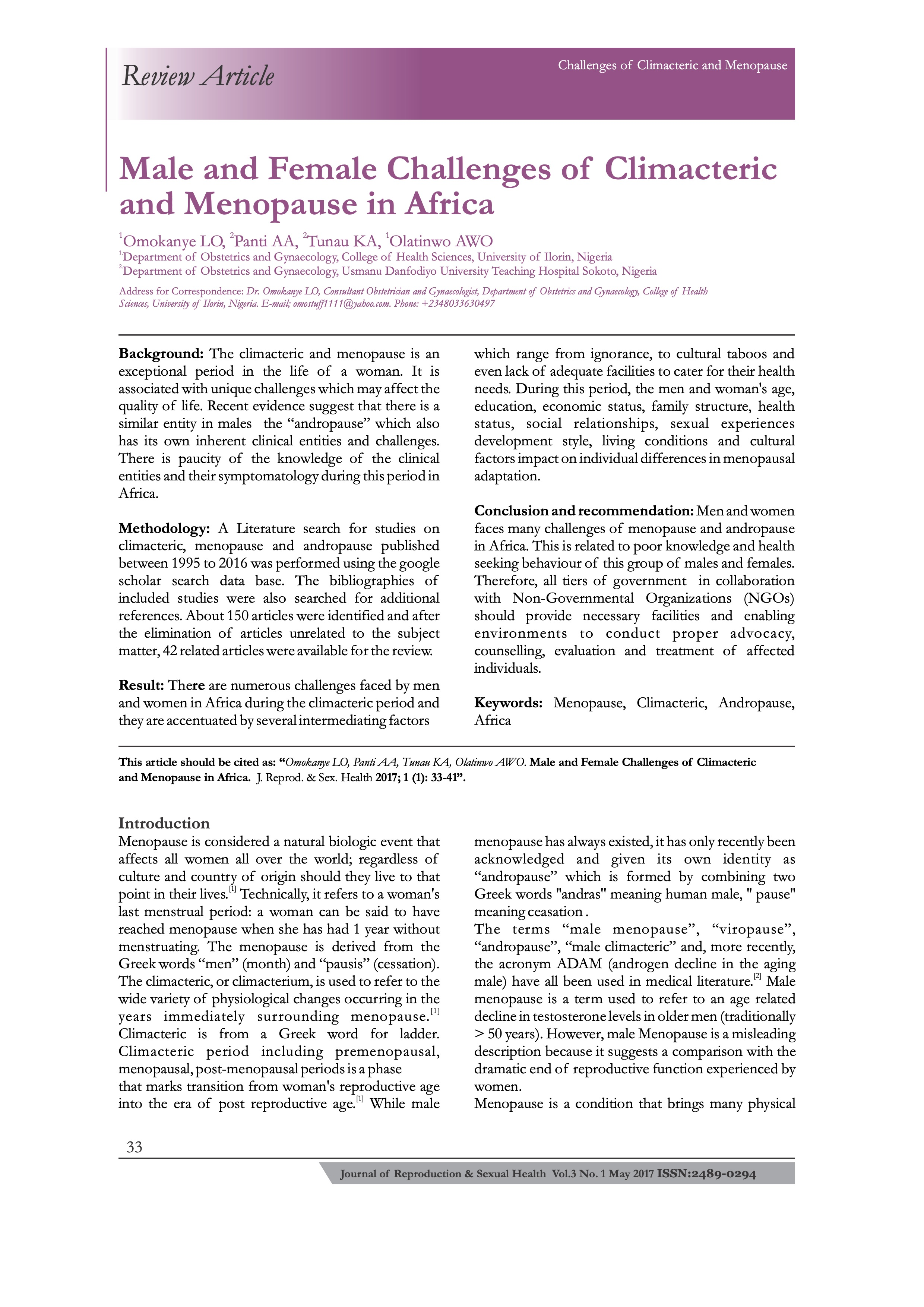 Male and Female Challenges of Climacteric and Menopause in Africa