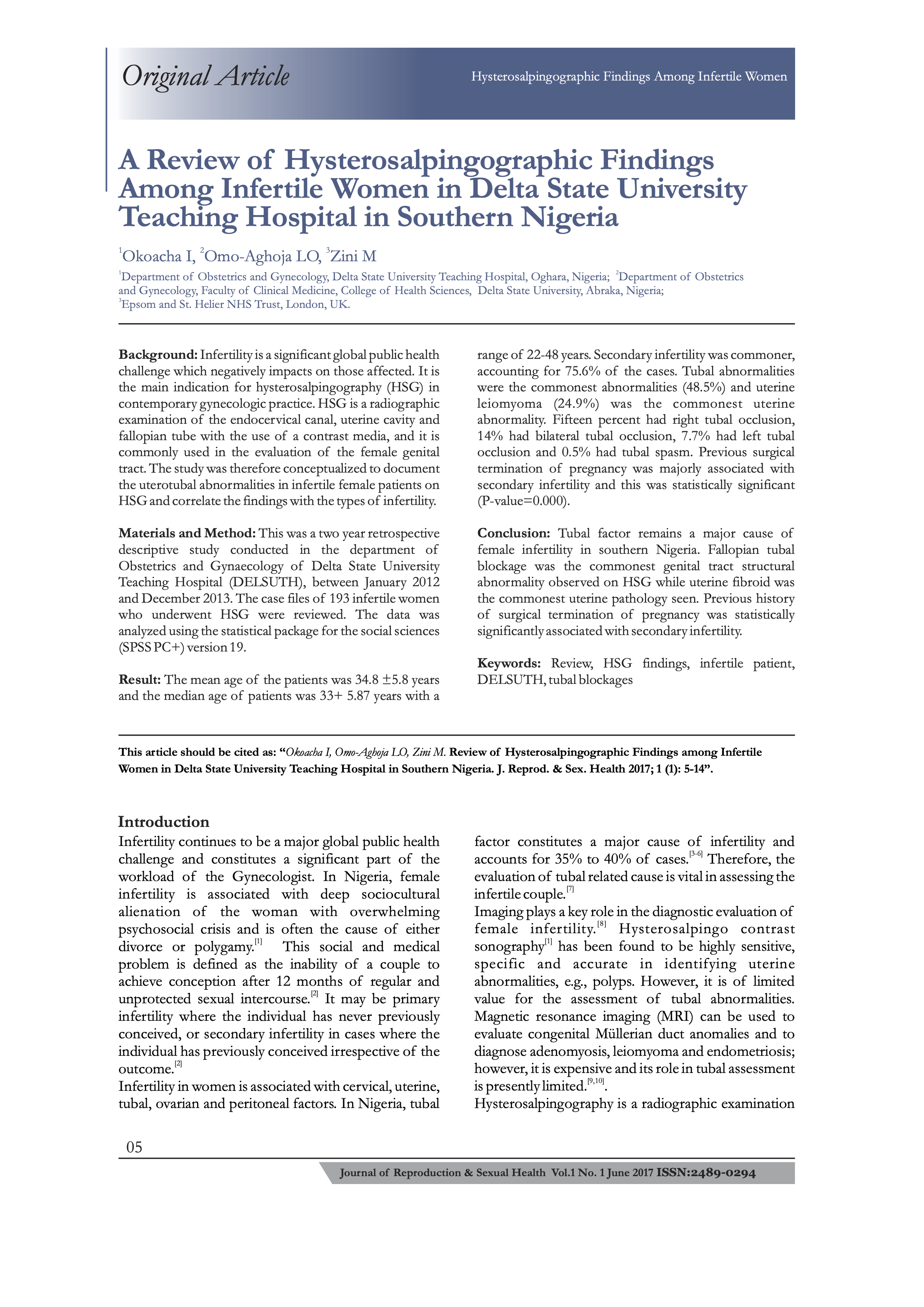 A Review of Hysterosalpingographic Findings among Infertile Women in Delta State University Teaching Hospital in Southern Nigeria