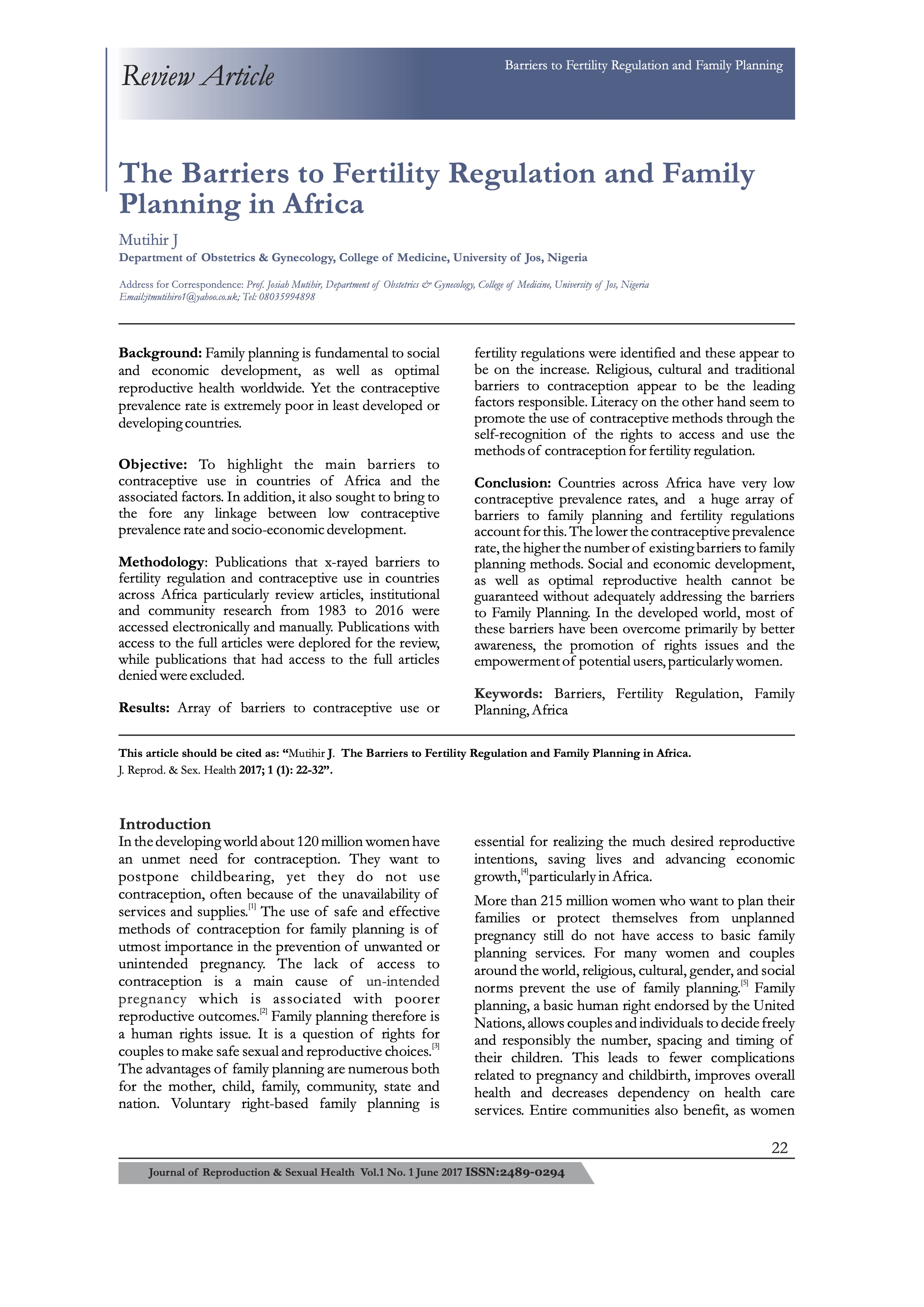 The Barriers to Fertility Regulation and Family Planning in Africa